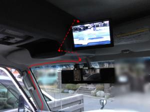フロントカメラモニターの車内配線