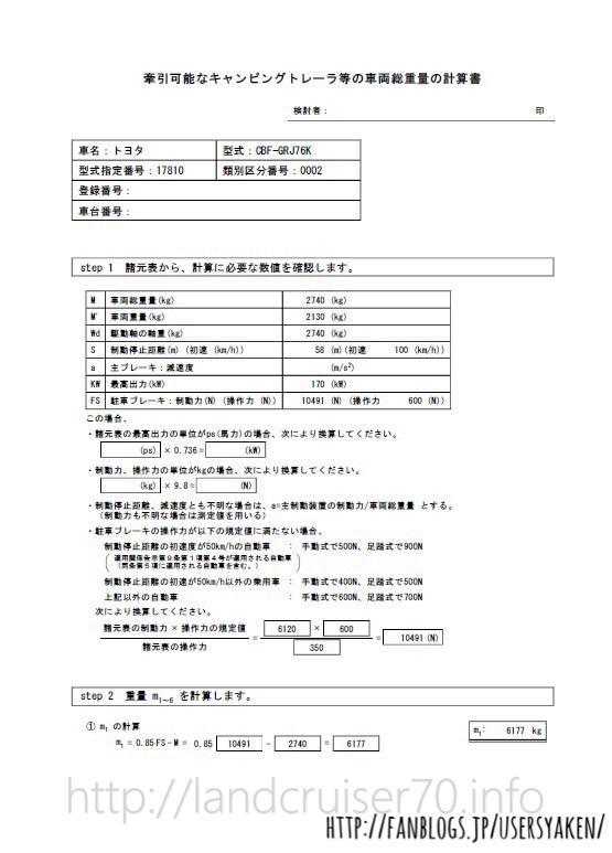 ランクル70の950登録手続き方法