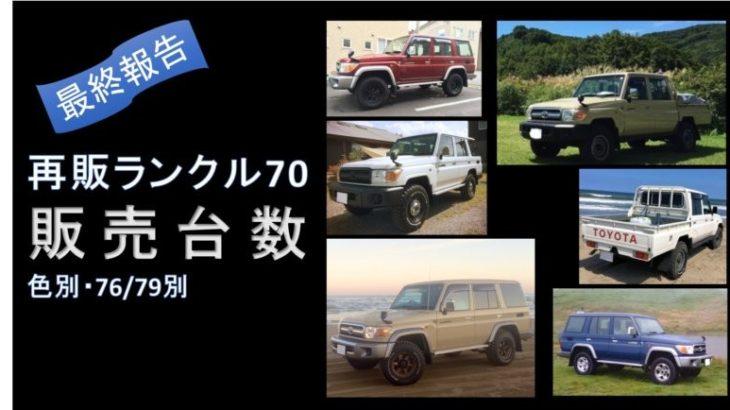 再販ランクル70の色別・種類別販売台数(最終報告)