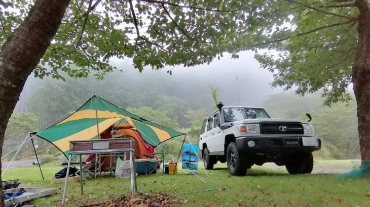 オートキャンプ銀河(西伊豆)で強風にドキッ!ランクル70で夏旅行。