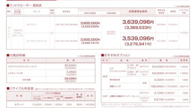 再販ランクル70価格表(神奈川トヨタ)2014.8